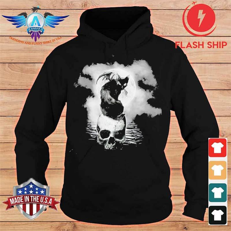 Bat And Black Cat Skull Moon Shirt hoodie