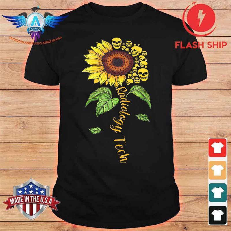 Radiology Tech Floral Sunflower Flower Skulls Shirt